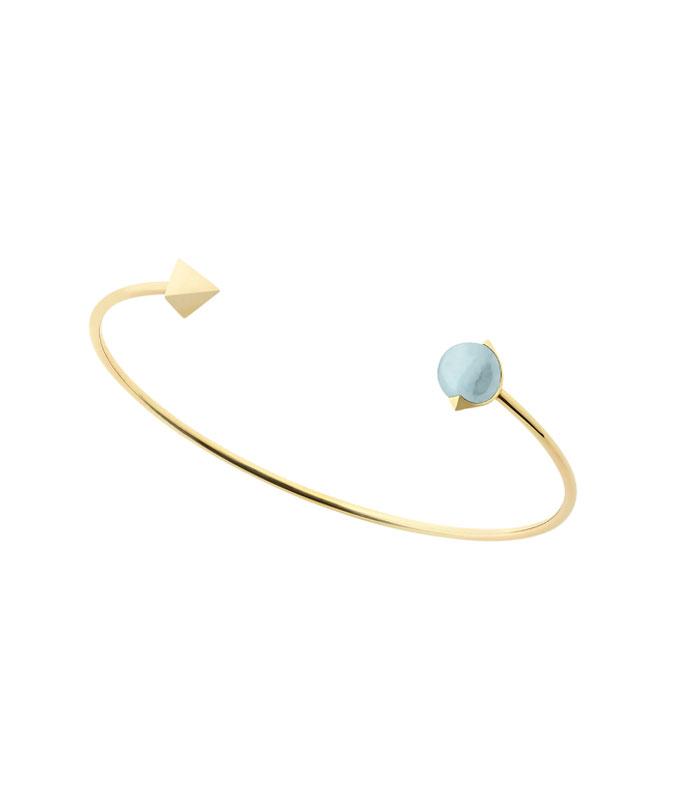 bracciale rigido con topazio azzurro