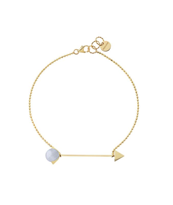 bracciale con catena e calcedonio azzurro