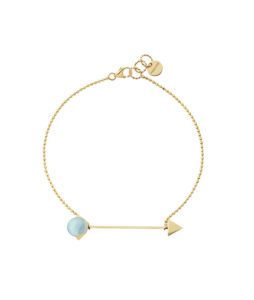 bracelet with chain and blue topaz