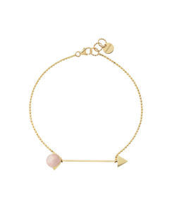 bracelet with chain and rose quartz
