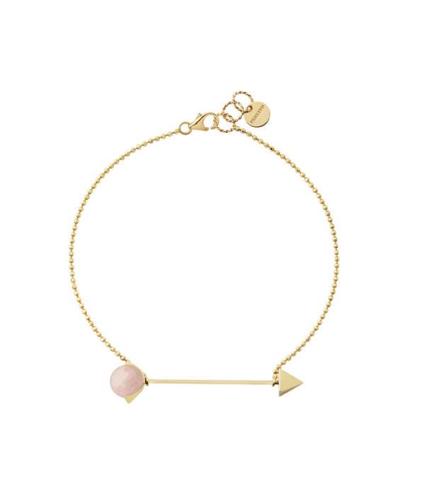 bracciale con catena e quarzo rosa
