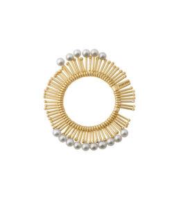 Anello oro a raggiera con perle