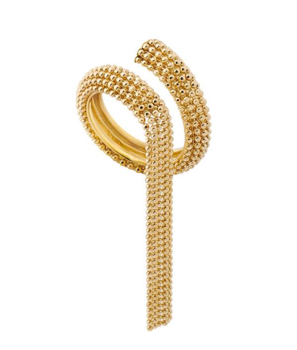 Anello contraire in oro giallo con frangia di catene