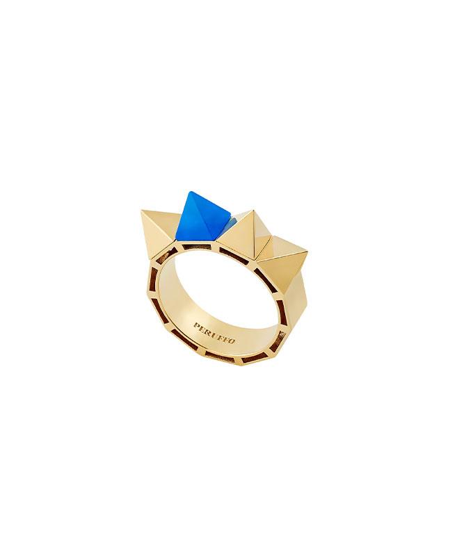 Anello con studs in agata blu e oro