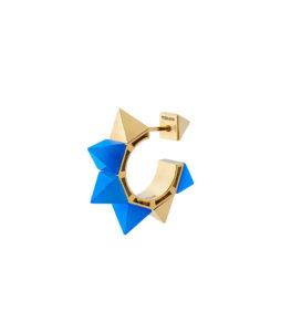 Orecchino piccolo in oro giallo con agata blu