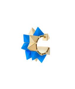 Orecchino con doppia fila di stud in agata blu e oro