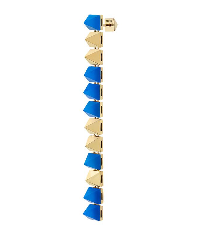 Orecchino pendente con stud in oro e agata blu