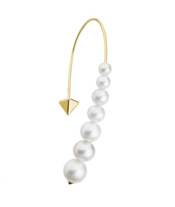 Orecchino ricurvo con perle naturali