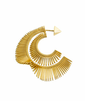 Double earring in yellow gold