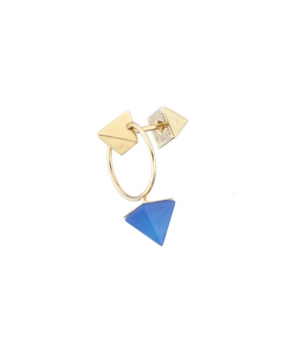 orecchino a cerchio piccolo blue agate