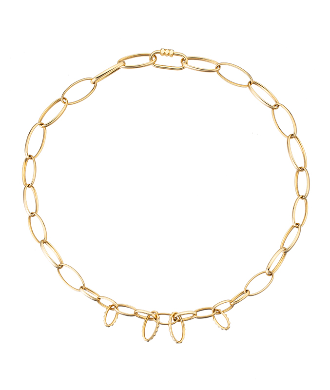 Yellow gold necklace with loop charms